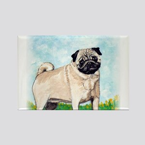 Fawn pug in flowers by Artwork by NikiBug Rectangl