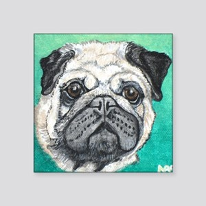Fawn pug face on teal by Artwork by NikiBug Sticke