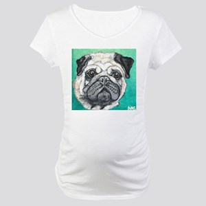 Fawn pug face on teal by Artwork by NikiBug Matern