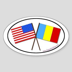 Oval Sticker USA/Romania