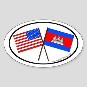 Oval Sticker USA/Cambodia