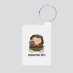 Material Girl with Fabric Aluminum Photo Keychain