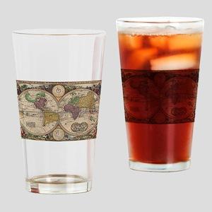 World Map 1657 Drinking Glass