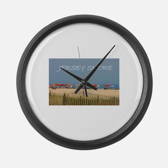 Jersey Shore Beach Umbrellas Large Wall Clock