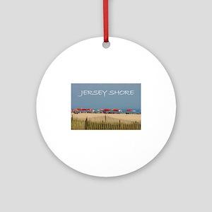 Jersey Shore Beach Umbrellas Round Ornament