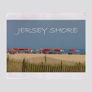 Jersey Shore Beach Umbrellas Throw Blanket