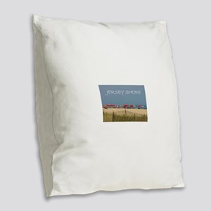 Jersey Shore Beach Umbrellas Burlap Throw Pillow