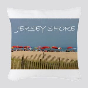 Jersey Shore Beach Umbrellas Woven Throw Pillow