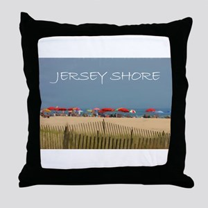 Jersey Shore Beach Umbrellas Throw Pillow