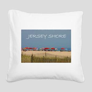 Jersey Shore Beach Umbrellas Square Canvas Pillow