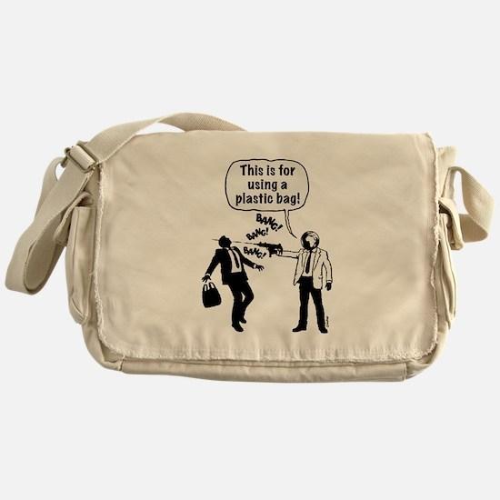 Cartoon: Anti-Plastic Waste Activist Messenger Bag