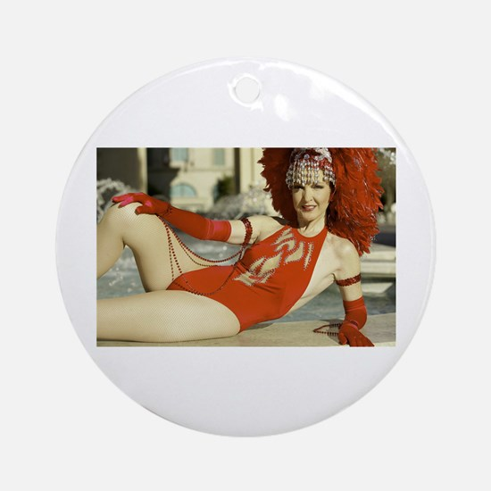 Las Vegas Showgirl Reclining Ornament (Round)
