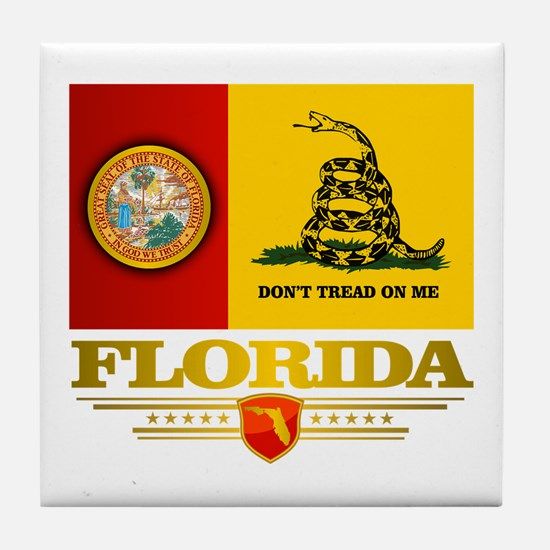 Florida Gadsden Flag Tile Coaster