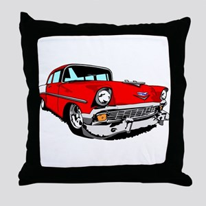 1956 Bel Air Red 2 Door Throw Pillow