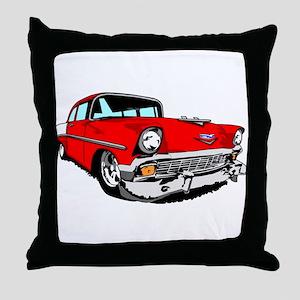 1956 Bel Air Red 2 Door Throw Pillow