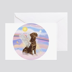 Chocolate Lab Angel Greeting Card
