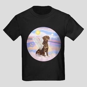Chocolate Lab Angel Kids Dark T-Shirt