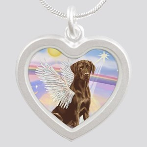 Chocolate Lab Angel Silver Heart Necklace