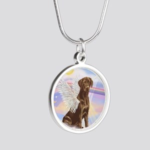 Chocolate Lab Angel Silver Round Necklace