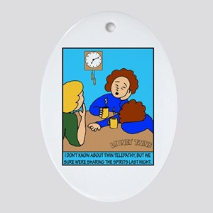 Looney Twins Sharing Spirits Ornament (Oval)