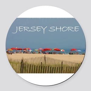 Jersey Shore Beach Umbrellas Round Car Magnet