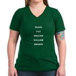 "Women's ""Peace"" V-Neck Dark T-Shirt"