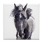 Black Horse Tile Coaster