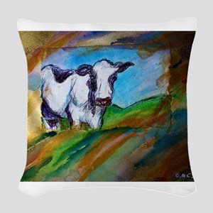 Cow! Bright, animal art! Woven Throw Pillow