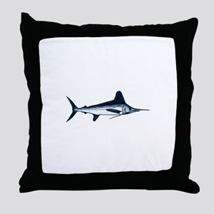 White Marlin Logo Throw Pillow