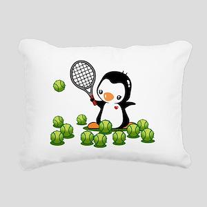 Tennis Penguin Rectangular Canvas Pillow