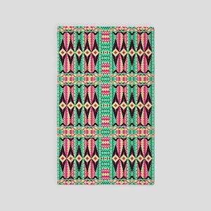 Mix #359, Mint Pink Tribal 3'x5' Area Rug