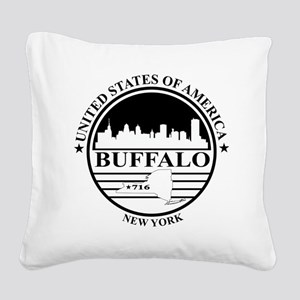 Buffalo logo white and black Square Canvas Pillow