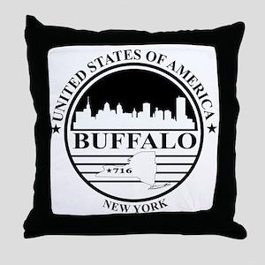 Buffalo logo white and black Throw Pillow