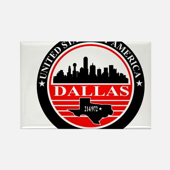 Dallas logo black and red Rectangle Magnet