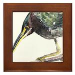 Green Heron Framed Tile