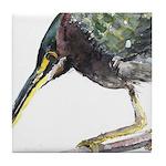 Green Heron Tile Coaster