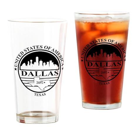 Dallas logo white and black Drinking Glass