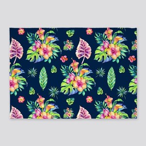 Colorful tropical flowers pattern 5'x7'Area Rug