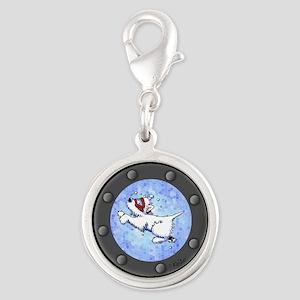 Snorkel Westies Silver Round Charm