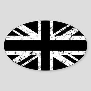 """""""Black Union Jack"""" Oval Sticker"""