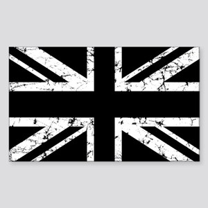 """Black Union Jack"" Rectangle Sticker"