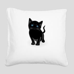 Cute Black Cat Shirt Square Canvas Pillow