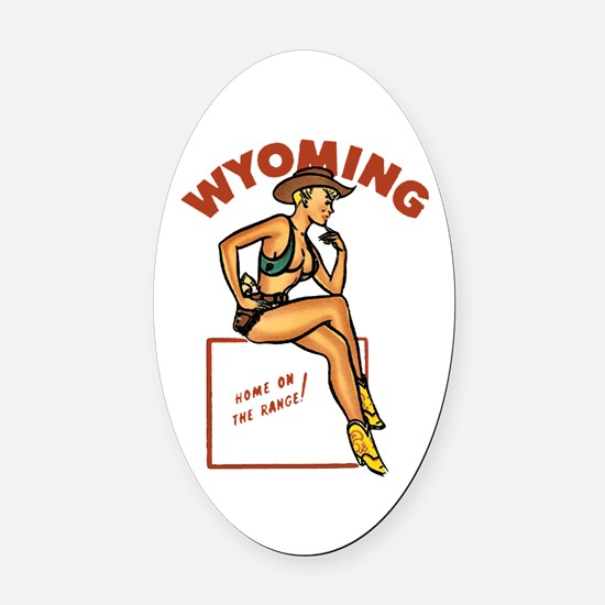 Vintage Wyoming Pinup Oval Car Magnet