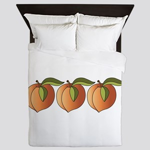 Row Of Peaches Queen Duvet
