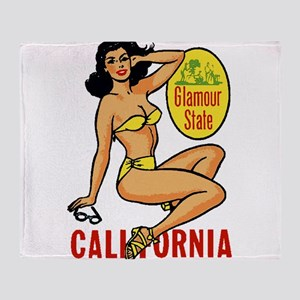 Vintage Cali Pinup Throw Blanket