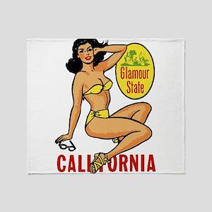 Vintage Cali Pinup Throw Blanket