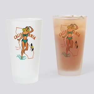 Vintage California Pinup Drinking Glass