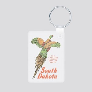 South Dakota Pheasant Aluminum Photo Keychain