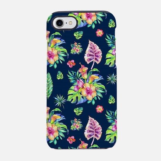 Colorful tropical flowers patt iPhone 7 Tough Case
