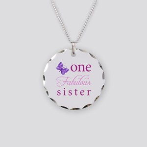 One Fabulous Sister Necklace Circle Charm